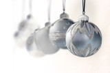 blue grey christmas ornaments - decorations - focus on front