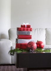 christmas presents on coffee table in modern living room