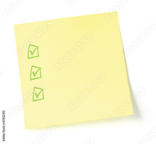 Yellow Blank To-Do Checklist Sticky Note Isolated
