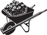 Wheelbarrow with Flowers  Vinyl Ready Vector Illustration