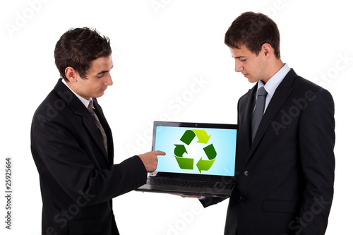 business man show on laptop with recycle icon
