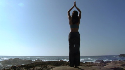 Yoga stretching by the sea - HD