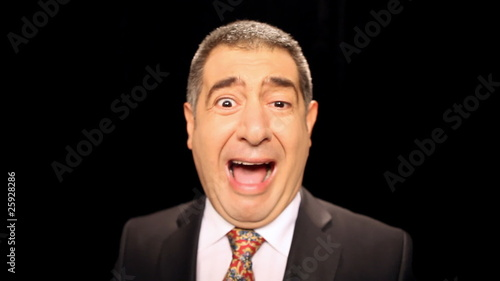 Angry businessman shouting and screaming - Emotion - Stress