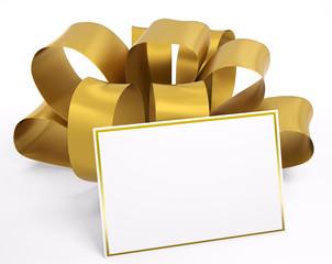 Gelbes schleifenband mit Karte 3d