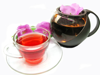 red tea with wild rose flowers