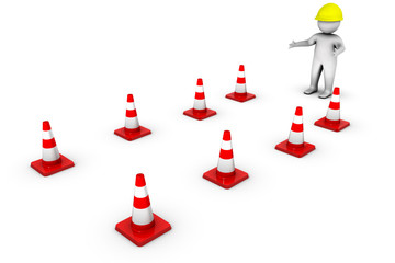 3d worker with traffic cones