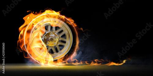 Leinwandbild Motiv car wheel on fire
