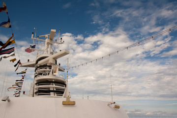 Electronic equipment mast on a cruise ship