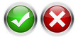 Tick mark and cross web buttons