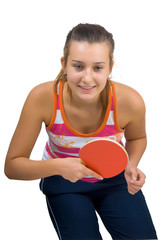 Young beautiful girl playing table tennis