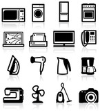 Set of electrical appliances, minimalistic icons poster