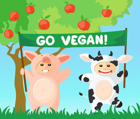 Cow and pig with go vegan banner