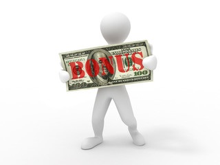 Men with dollar. bonus
