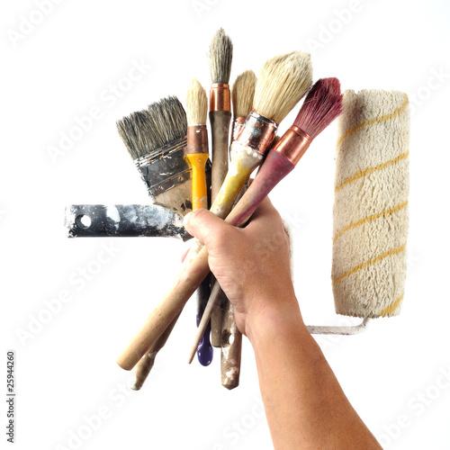pinceaux rouleau outils de peinture d coration de cdrcom photo libre de droits 25944260 sur. Black Bedroom Furniture Sets. Home Design Ideas