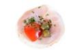 (Brötchen mit) Schinken, Oliven u. Tomate (von oben)