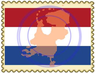 Netherlands map flag stamp