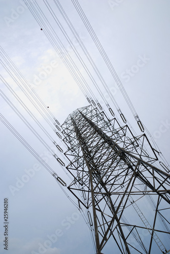 Electric high voltage post with the sky background