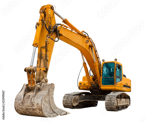 Yellow Excavator at Construction Site - 25949067