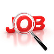 job search icon - job 3d letters under the magnifier