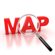 explore map icon - map 3d letters under the magnifier