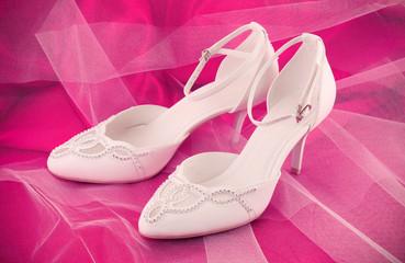Closeup of fashionable bridal wedding shoes