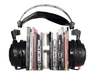 Black headphones with music discs