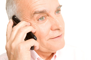 Old man calling by phone
