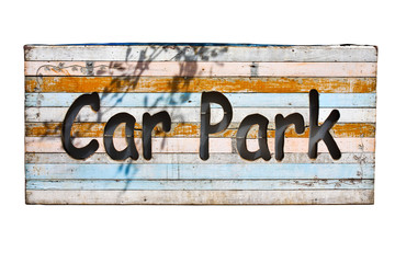 wood parking sign