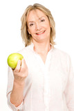 Pensioner holding an apple poster