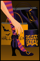 Halloween shopping. vector