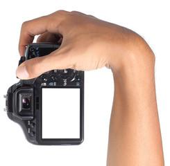 hand holding digital camera verticaly