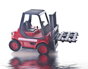 toy fork lift truck with reflection