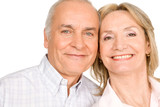 Happy pensioners couple poster