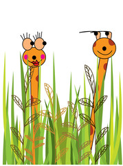 Cartoon giraffes flirting with each other