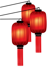 Traditional Chinese red lanterns on white background
