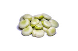 Green broad beans isolated on copyspace