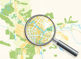 Fototapety Map of the City and A Loupe