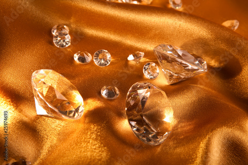 Diamond on satin fabric