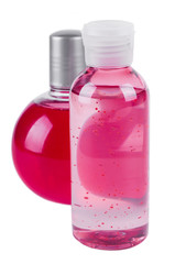massage oil bottle and foam for bath