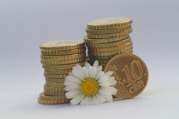 10 Cent Münze mit Blume VI