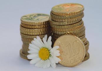 10 Cent Münze mit Blume VII