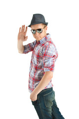 Guy in a hat and sunglasses