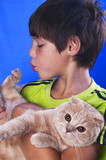 boy with  cat poster