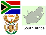 South Africa flag national emblem map