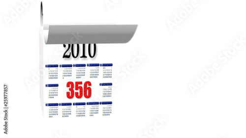 Loopable New Year 2010-2011 calendar on white background