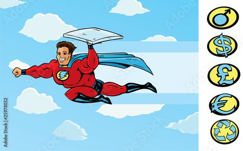 Super Delivery guy delivering pizza or anything else.