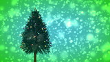 Spinning Christmas tree on green snowy background