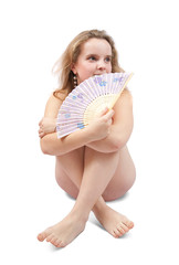nudity girl with a fan