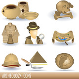Archeology icons poster