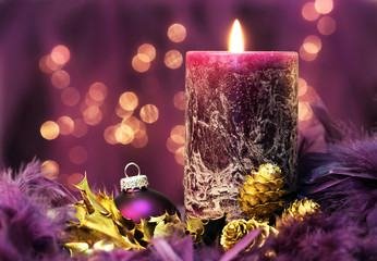 christmas still life in purple colors
